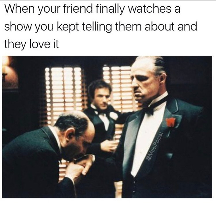 Funny meme featuring image from the godfather to describe a friend's gratitude for television recommendations.