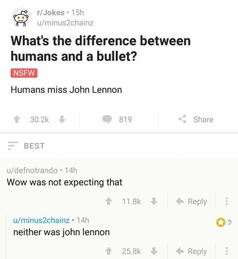 Joke that asks the difference between John Lennon and a bullet.