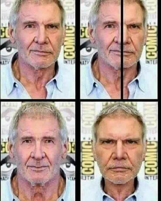 Harrison ford images - his face is assymetrical so the photos create how he would look if it were symmetrical.