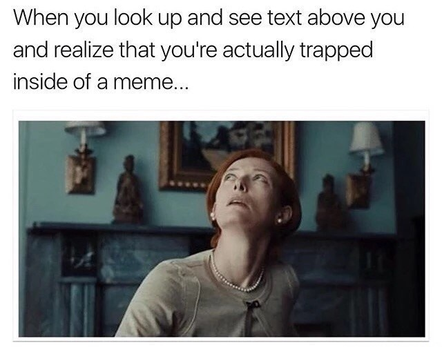 Funny meme within a meme of a red hair woman stuck in a meme, and a caption about her realizing it.