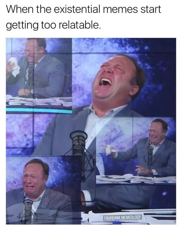Meme about laughter turning into crying when the memes start to get too relatable and really hit home