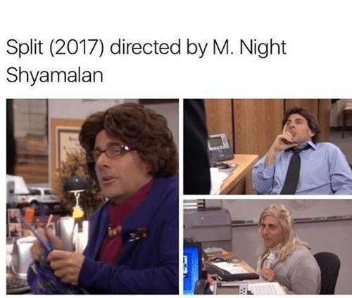 Fake images of M. Night Shyamalan's Split - images are actually of Michael Scott dressed up.