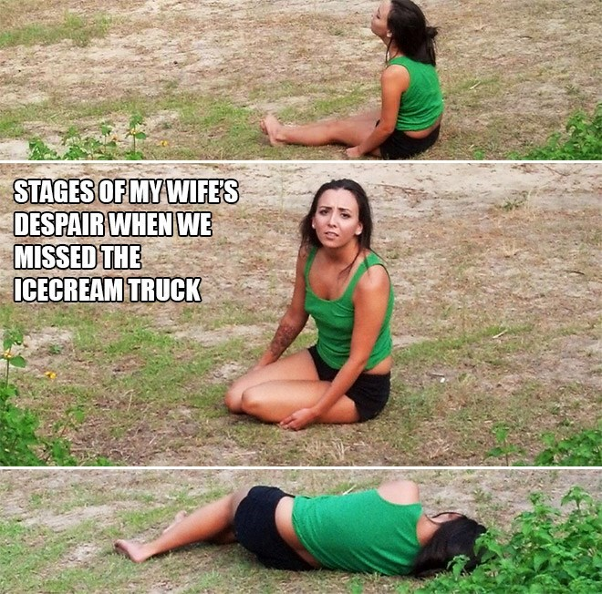 Physical fitness - STAGES OF MY WIFES DESPAIR WHEN WE MISSED THE ICECREAM TRUCK