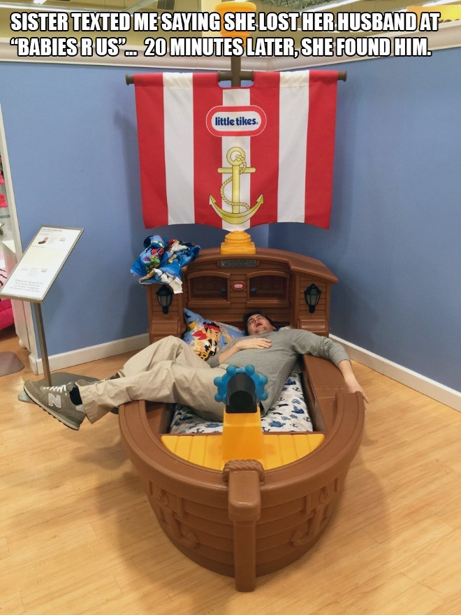 Furniture - SISTER TEXTED ME SAYING SHE LOST HER HUSBANDAT BABIESRUSL 20 MINUTES LATER,SHE FOUND HIM little tikes