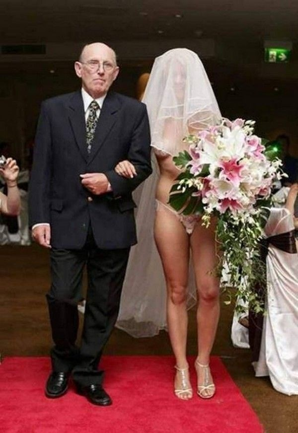 funny pic of old man walking a naked bride to the altar