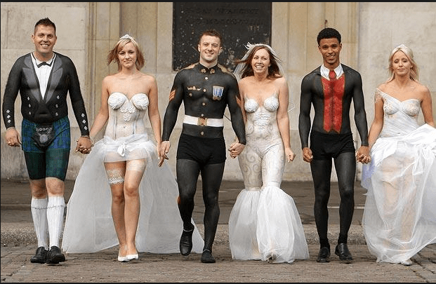 funny pic of naked brides and grooms with clothes painted on