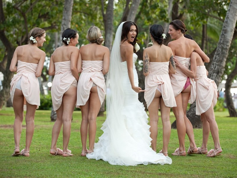 funny pic of bridesmaids with their dresses tucked in their underwear