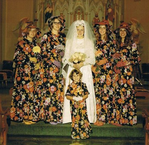 funny pic of bride surrounded by bridesmaids wearing ugly floral prints