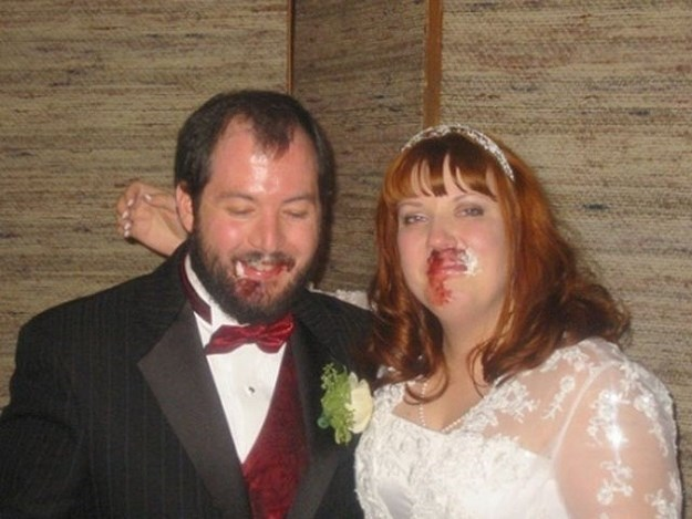 funny pic of bride and groom looking like they were punched in the face