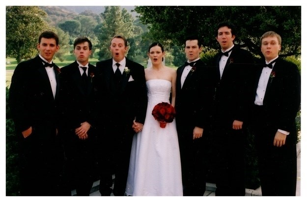 funny pic of bride and groomsman looking shocked