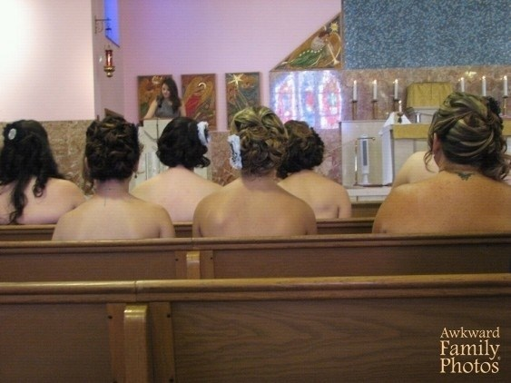 funny pic of women sitting in piers in a church appearing to be naked