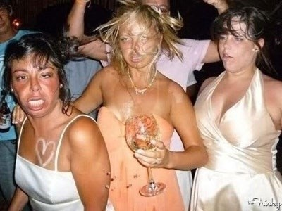 funny pic of women looking drunk at a wedding party