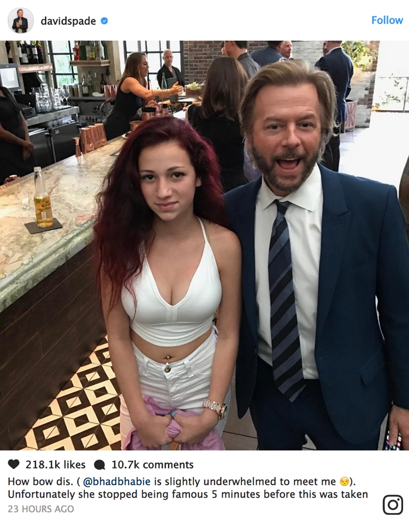 Picture of David Spade with the Cash Me Ousside Girl