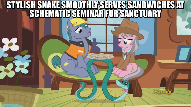 alliteration screencap hard hat wrangler rupert snake fluttershy leans in - 9032932352