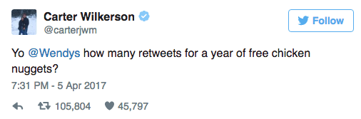 Guy tweets at Wendy's asking how many retweets it'll take for a year's supply of chicken nuggets.