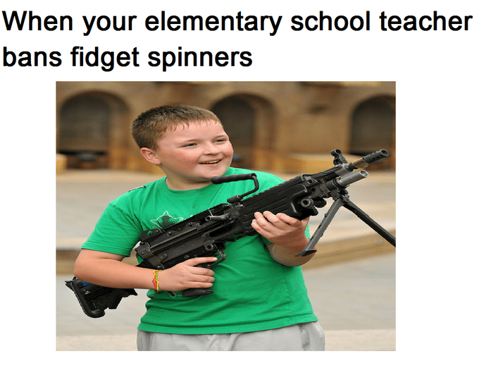 Strange meme of a kid with a machine gun and a comment about fidget spinners.