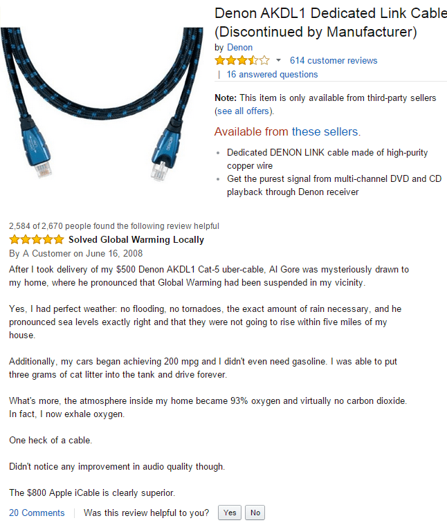 Amazon customer reviews a link cable that solves global warming.