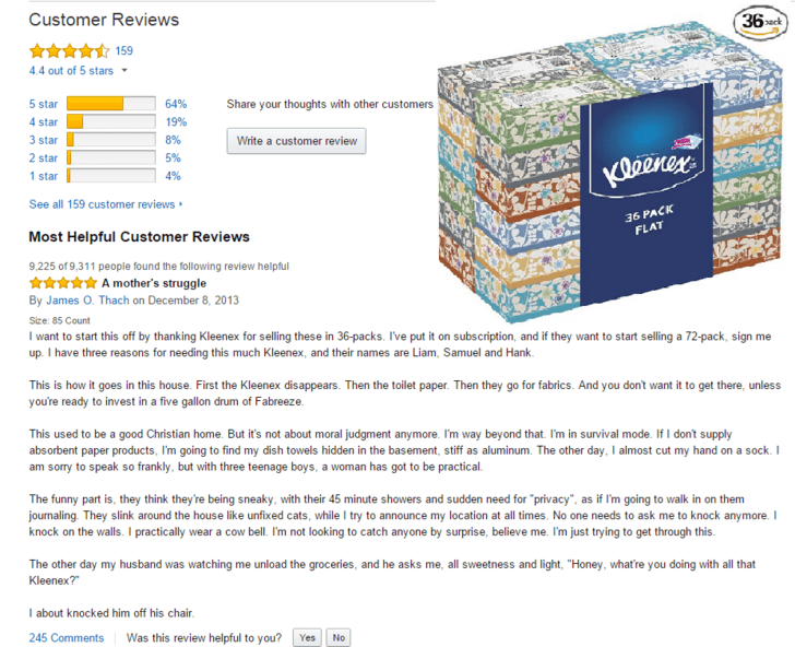 Funny Amazon review for bulk box of Kleenex by a mom of 3 teenagers who need it for you know what.