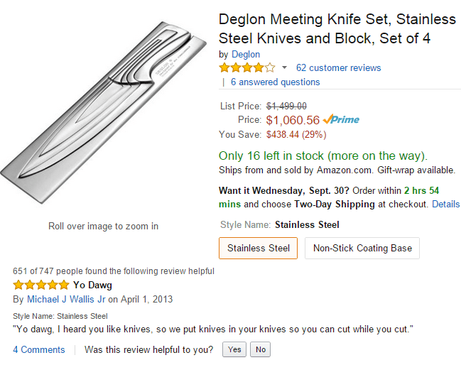 Funny Amazon review for fancy knife set that sounds like Pimp My Ride.