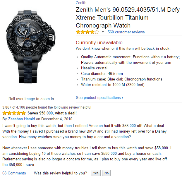 Funny Amazon review for Titanium Chronograph watch that saves you enough to buy a BMW.