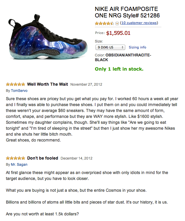 Funny Amazon review for Nike Air Foamposite shoes that cost $1,500 but are worth going homeless for.