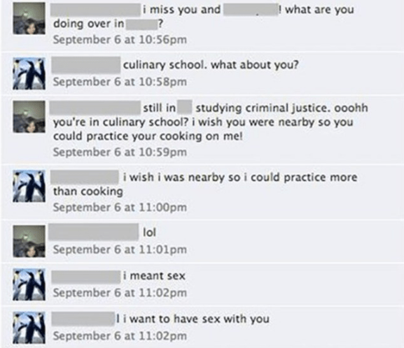 Guy comments with way too aggressive comment about having sex with someone on Facebook.