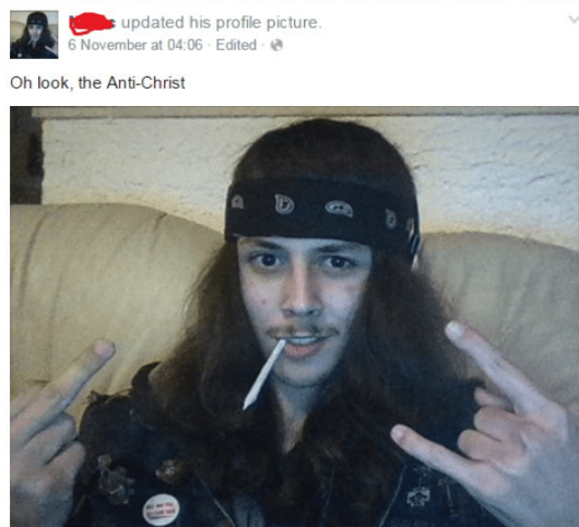 Picture of guy with super long black hair smoking blunt with the title about being an anti-christ.