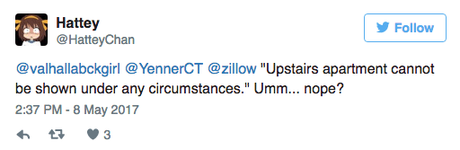 Funny twitter question about the second floor apartment that can't be shown under any circumstances.