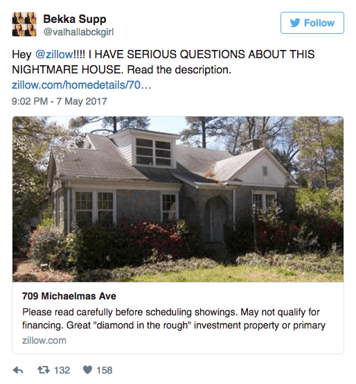 Listing of scary house on Twitter - The nightmare house.