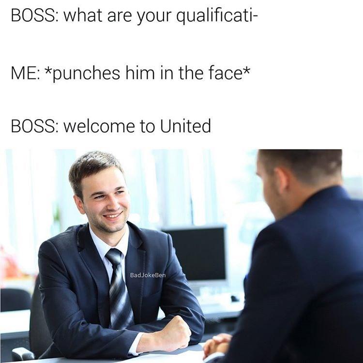 United Airline job interview meme