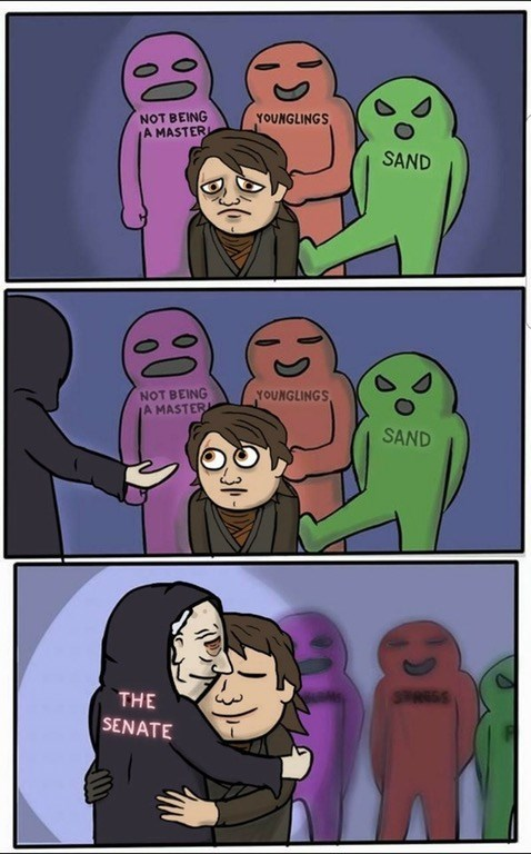 Wholesome web comic / funny meme based on the Star Wars Prequels, Palpatine hugging Anakin Skywalker.