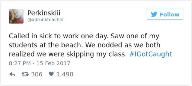 Funny fail of teacher calling in sick and seeing his student at the beach.