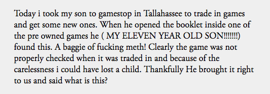 Kid's mother phones police after discovering baggie of meth in her son's GTA V game from GameStop.