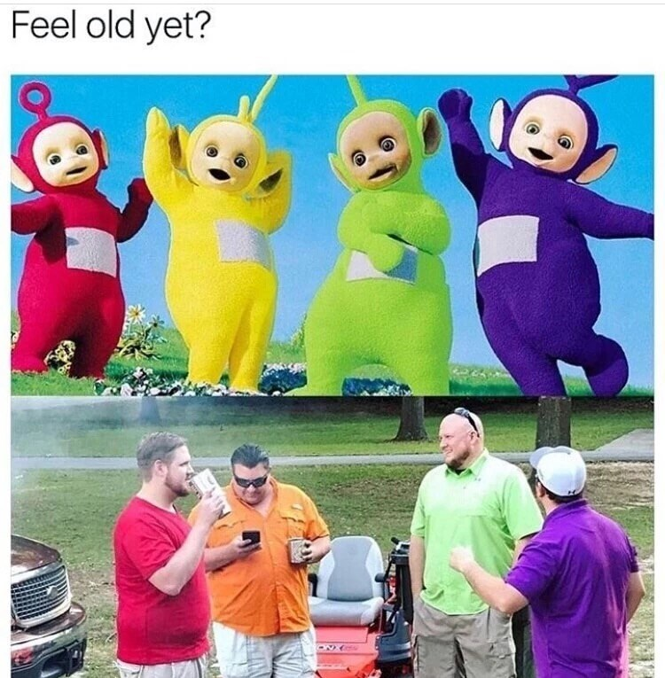 Wednesday meme about the Teletubbies as old overweight men