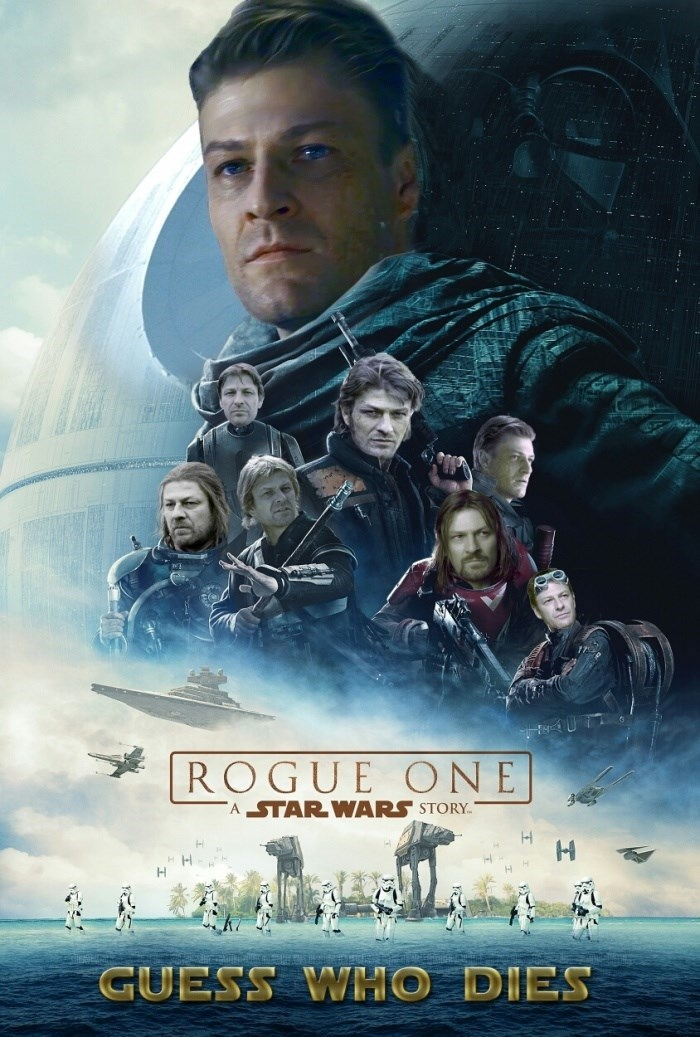 Wednesday meme about everyone dying in the movie Rogue One with poster where all the characters are replaced by Sean Bean