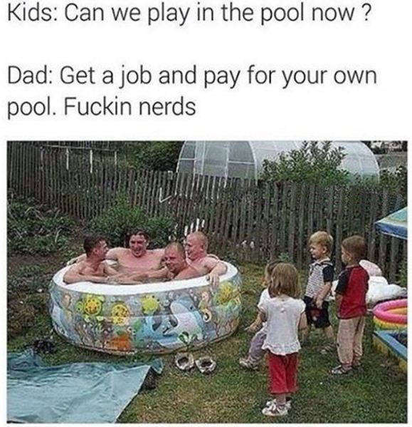 Wednesday fail meme with pic of adults taking over kiddie pool