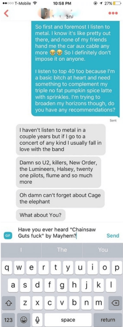 Tinder conversation escalates super quickly with heavy metal reference.