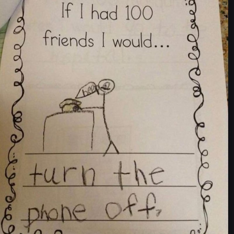 Funny meme about turning of the phone if you had 100 friends.