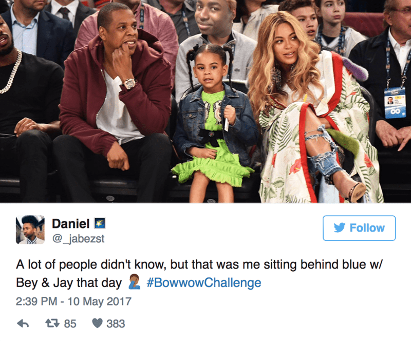 People - Daniel Follow @_jabezst A lot of people didn't know, but that was me sitting behind blue w/ Bey & Jay that day #BowwowChallenge 2:39 PM -10 May 2017 구 85 383