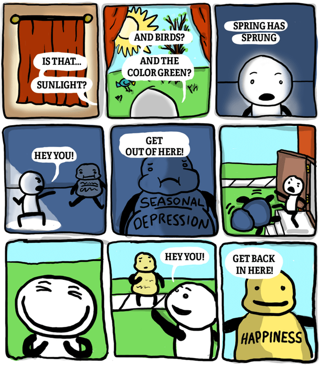 Funny and wholesome web comic about winter turning into spring, and seasonal depression into happiness.