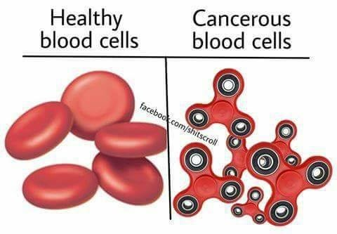Funny dank meme, showing what healthy blood cells look like, and that cancerous blood cells look like red fidget spinners.