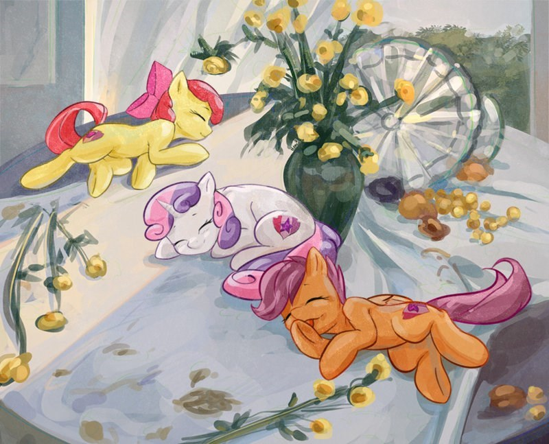 applebloom Sweetie Belle new table setting ponify acting like animals sergej novosadzhuk Scootaloo - 9034012672