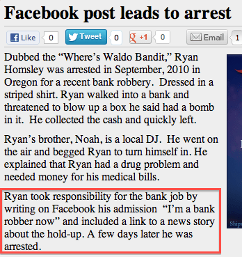 """Text - Facebook post leads to arrest Tweet o10 