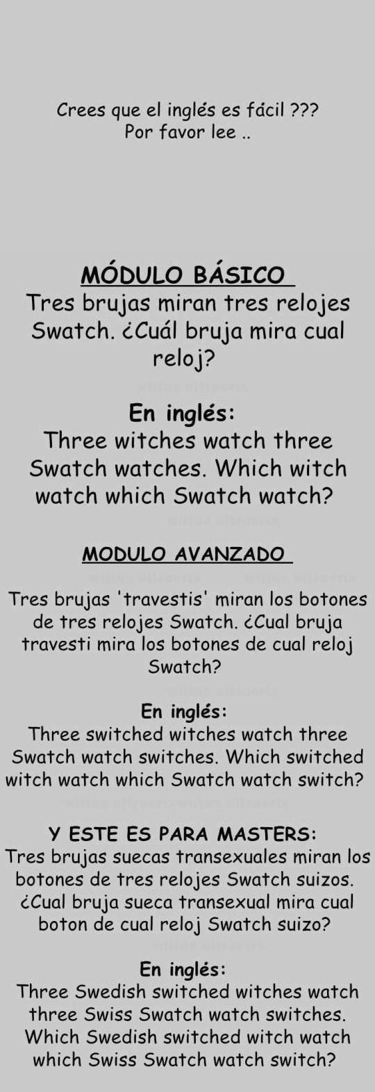 trabalenguas en ingles de las tres brujas