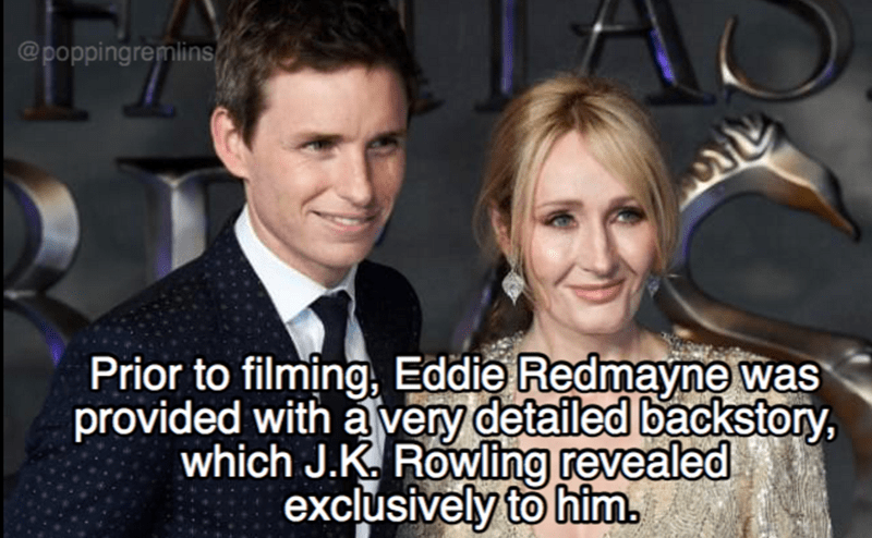 Photo caption - @poppingremlins ৬ Prior to filming, Eddie Redmayne was provided with a very detailed backstory, which J.K. Rowling revealed exclusively to him