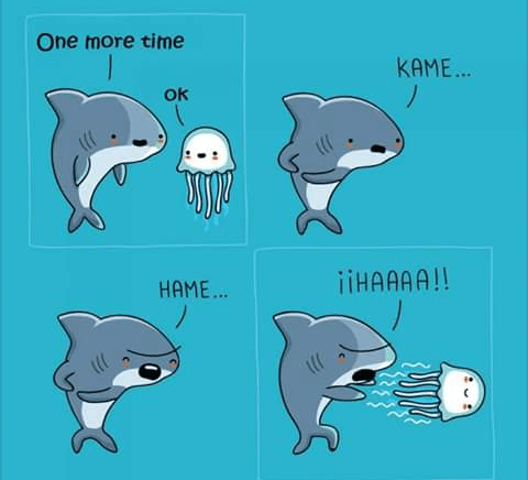 Funny and cute web comic of a shark and jellyfish being friends and pretending to be in Dragon Ball Z.