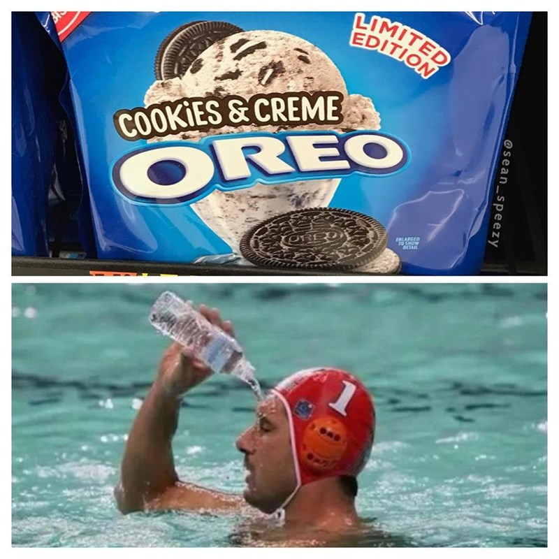 Funny meme of oreo cookies and creme and guy pouring water on himself in the pool. wait for it...