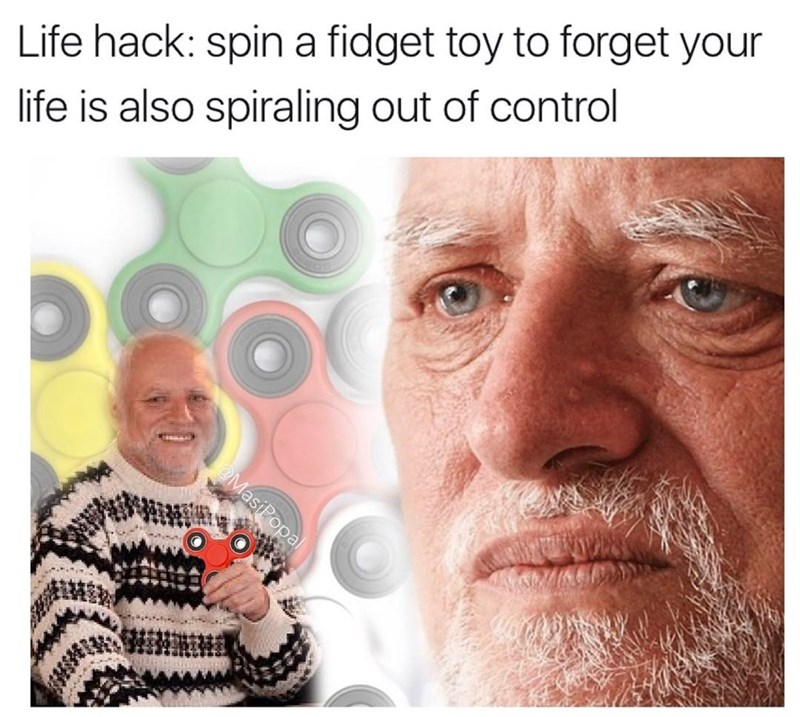 Funny meme about fidget spinners