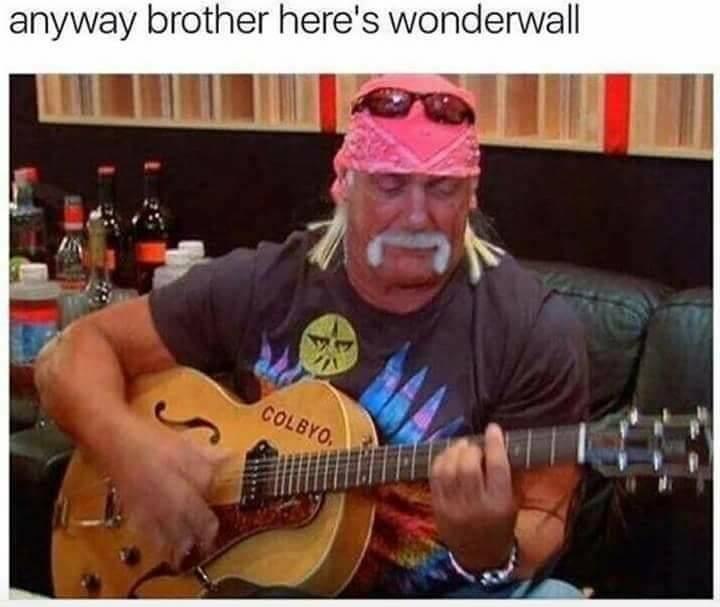 Funny meme with wrestler Hulk Hogan playing Oasis's Wonderwall on acoustic guitar.