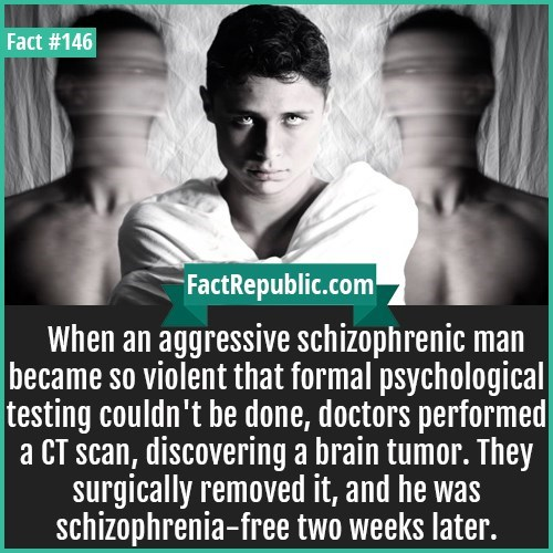 Text - Fact #146 FactRepublic.com When an aggressive schizophrenic man became so violent that formal psychological testing couldn't be done, doctors performed a CT scan, discovering a brain tumor. They surgically removed it, and he was schizophrenia-free two weeks later.